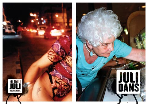 TheaterAffichePrijs voor struikelend model, een bejaarde vrouw achter de gokautomaat en een heroïnehoertje op straat