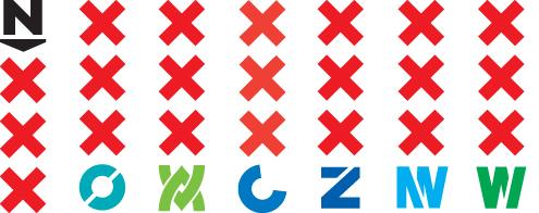 Stadsdeellogo's met een doorsneden lettersymbool