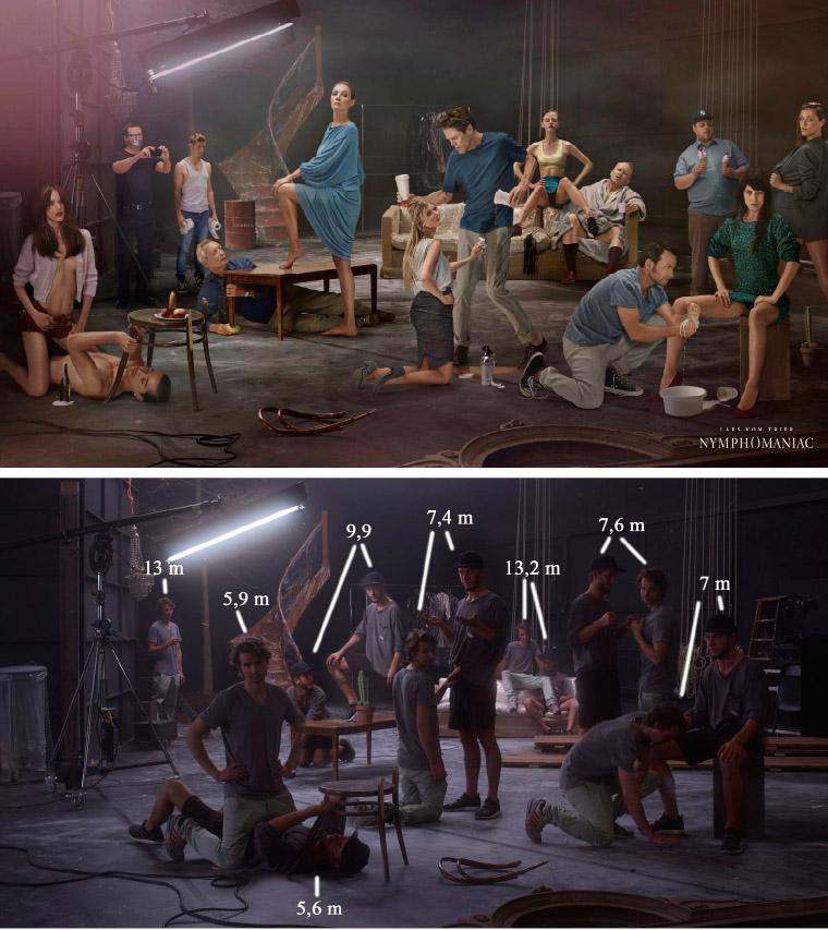 Zoek de 10 verschillen: de tableau de la troupe van Nymphomaniac