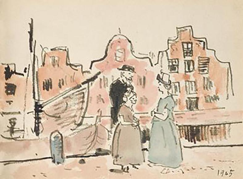 Uit schetsboekje, Hollanders bij gracht in Alkmaar.5c00195d7dbc8f5f4864161aaa628805